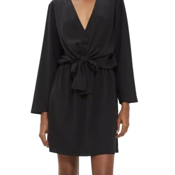 Topshop Tiffany Black Tie Knot Mini Dress